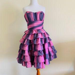 NWT Betsey Johnson Pink Gradient Ruffle Prom Dress